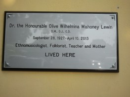 Musicologist, folklorist, teacher Hon. Dr. Olive Lewin was our former neighbour. Now where her house once stood is a small restaurant complex and a school. This plaque commemorates Dr. Lewin's life, dedicated to nurturing and teaching Jamaica's cultural heritage.
