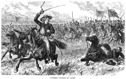 Captain George Armstrong Custer leads the charge at the Battle of Aldie.