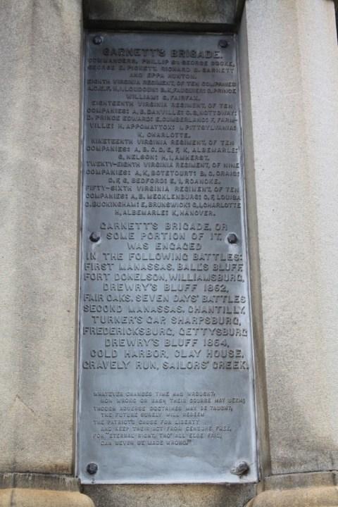 A plaque honoring Garnett's brigade.