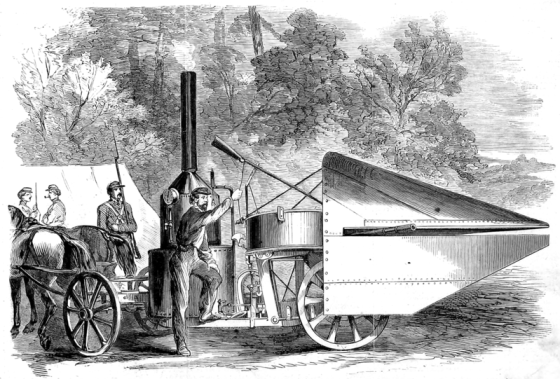 The Winans Steam Gun in the hands of Union troops. Engraving from Wikipedia.