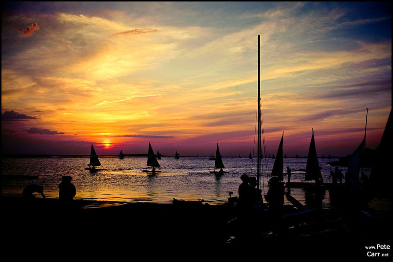 Marine lake at sunset