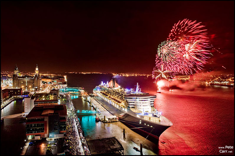 Queen Mary 2 in Liverpool with fireworks