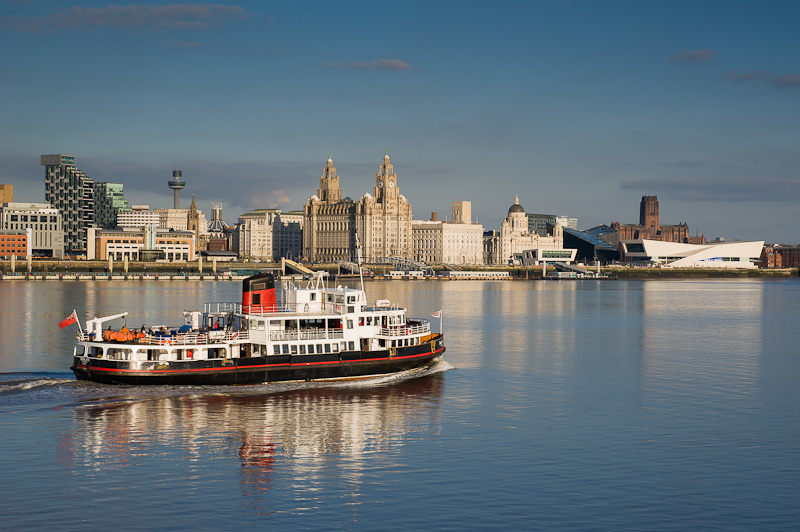 Liverpool skyline with ferry