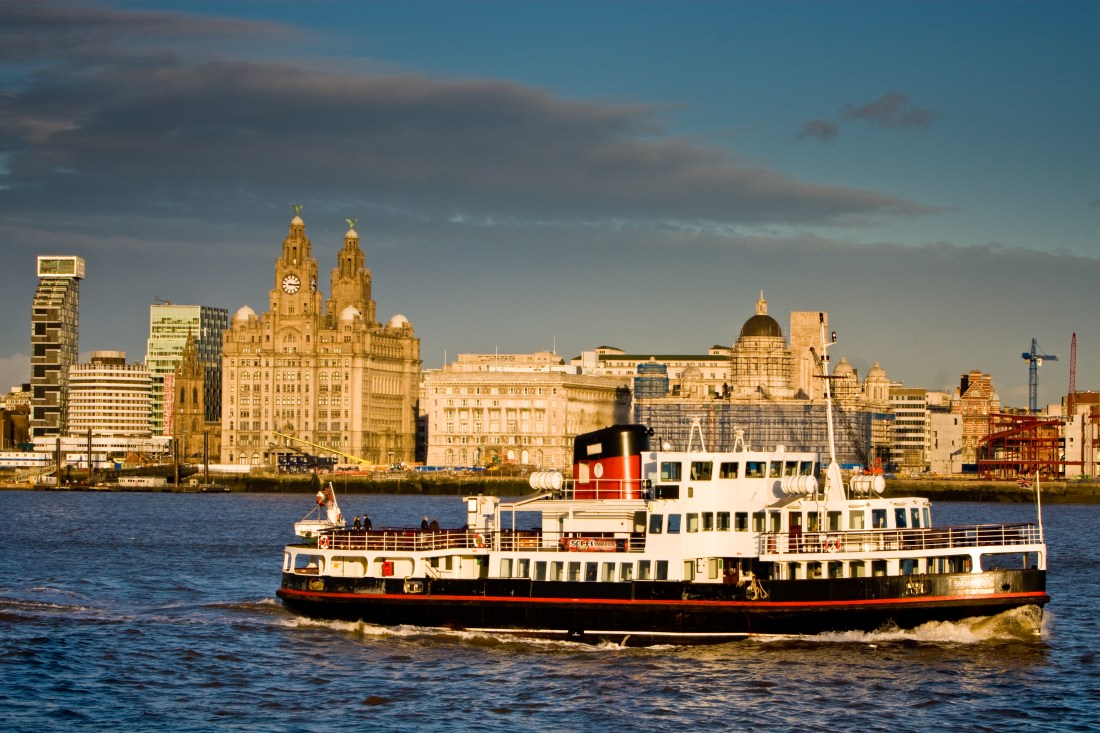 Liverpool skyline at the start of 2008 with a lovely iconic ferry passing by.