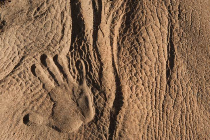 The imprint of a human hand can be seen in the pattern made in the sand from a rhinoceros laying down. Photo by conservation photographer Pete Oxford.