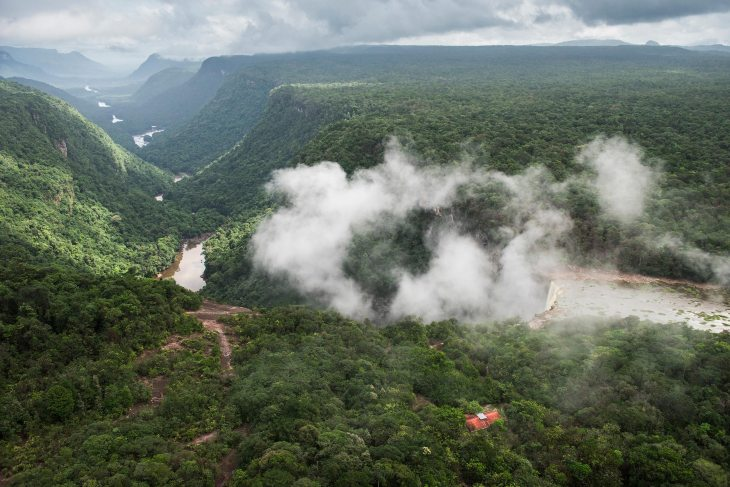 Kaieteur Gorge in Guyana stretches into the distance. Photograph by landscape photographer and conservation photographer Pete Oxford.