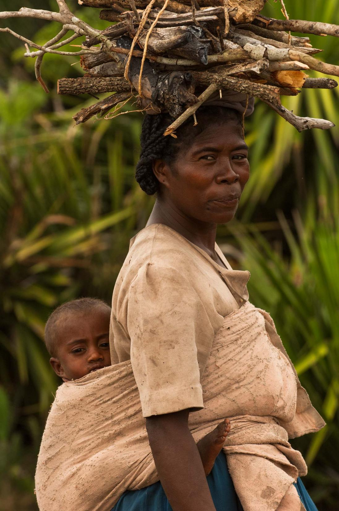 An Antandroy woman is shown carrying sticks on her head and a child on her back. Photo by indigenous person photographer Pete Oxford.