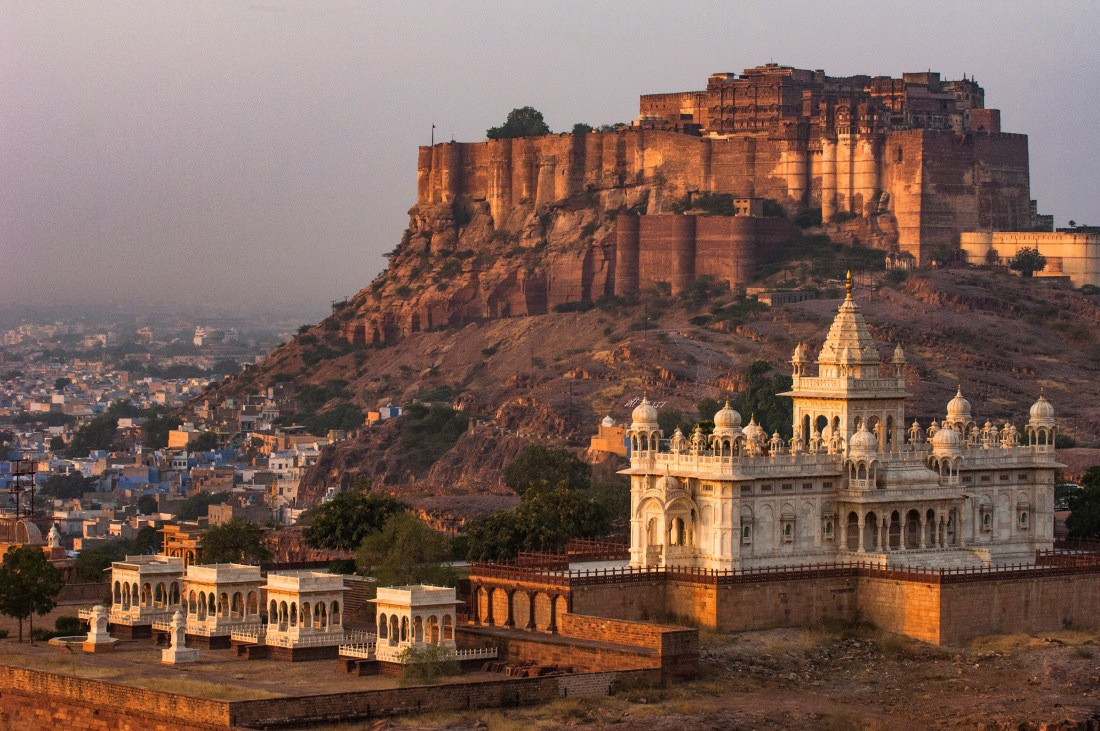 Mehrangarh Fort of Jodhpur and Jaswant Thada in the foreground. Rajasthan, India. Photo by travel photographer and conservation photographer Pete Oxford.