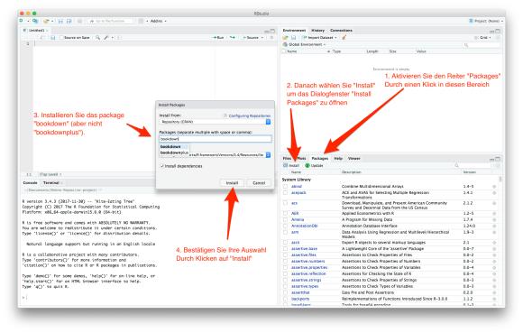 """Screenshot: R-Paket """"bookdown"""" installieren"""