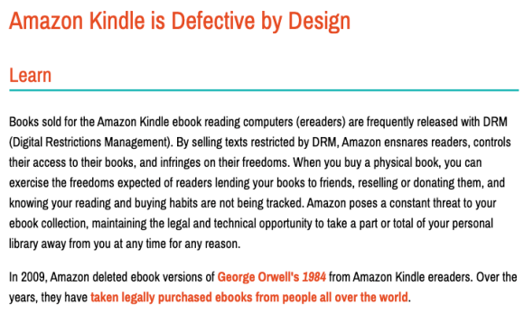 Amazon Kindle is Defective by Design: A quote from the Free Software Foundation.