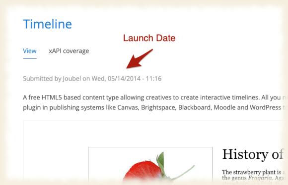 """Screnshot eines Ausschnitts der Seite """"Timeline"""" von H5P.org mit einem Pfeil der auf das Erscheinungsdatum des Artikels zeigt und mit """"Launch Date"""" überschrieben ist."""