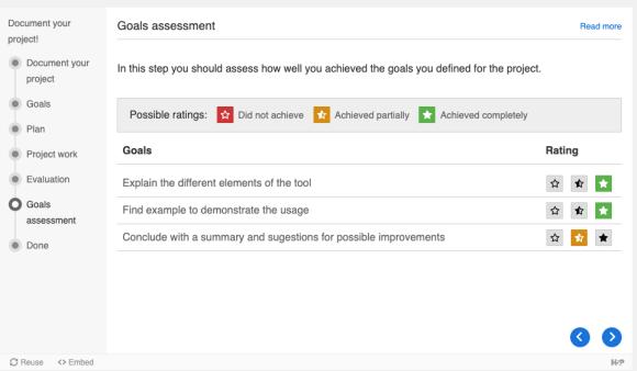 Screenshot der Evaluierung der Zielerreichung im H5P Documentation Tool