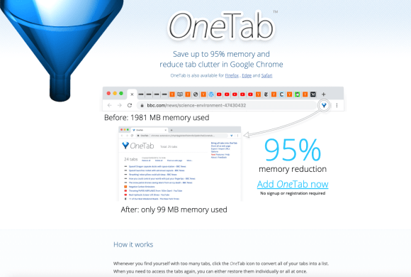 Screenshot of Page for Browser Plugin OneTab