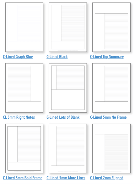 Screenshot of different template formats for Cornell Notes