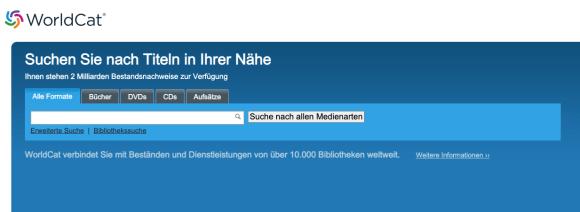 Screenshot: Startseite der WorldCat Suchmaschine