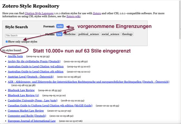 Screenshot Zotero Style Repository zeigt Resultat nachdem Filter gesetzt wurden, die nur Stile für Fuß-/Endnotensysteme aus dem Bereich derJurisprudenz (ohne Varianten) anzeigen.