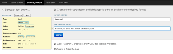 Screenshot: Search by example displays the citation style of a book example with some changes of the original style.