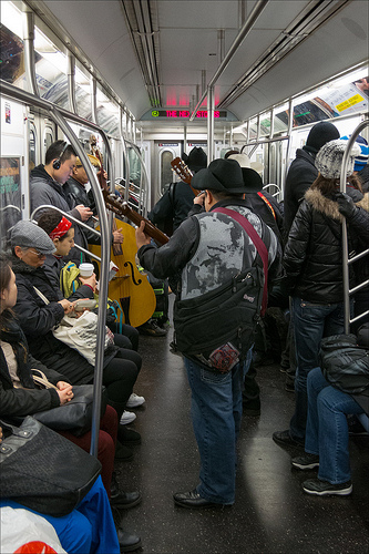 mariachis in subway photo