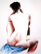 Compressed charcoal, conte, pastel