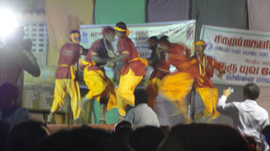 These guys were from...India. It was basically like Morris dancing with bells and sticks