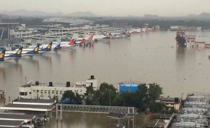 chennai airport under water