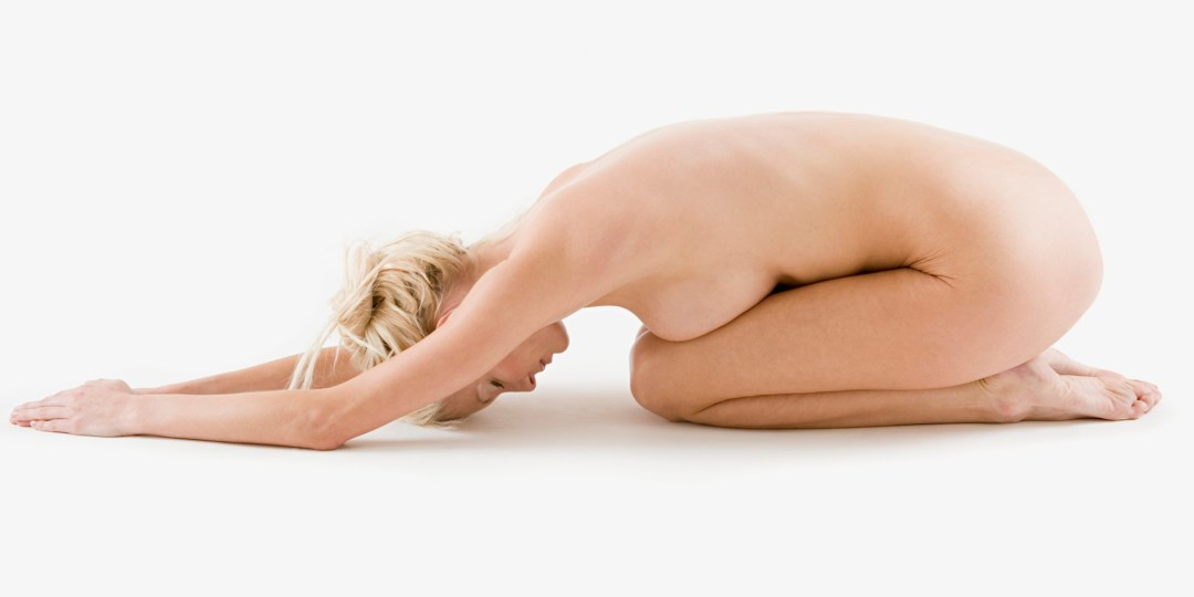 A woman posing naked. Not one of the Problems with Yoga
