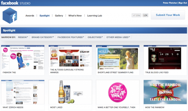 A screenshot of the Facebook Studio Spotlight page