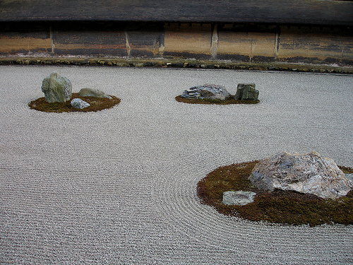 Rock Garden, Ryoanji Temple, Kyoto, Japan.