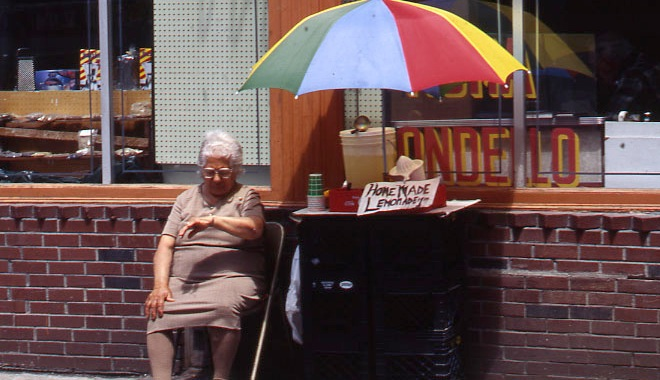 Woman selling lemonade