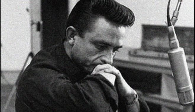 Johnny Cash looking pensive