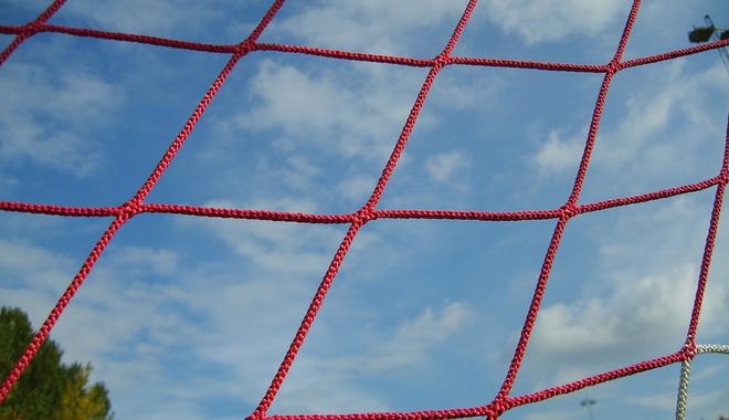 Soccer goal net closeup