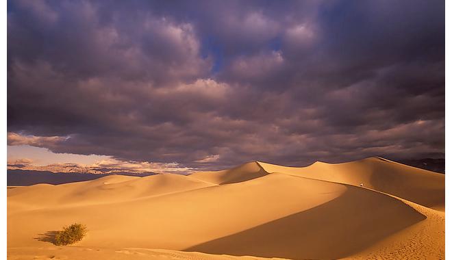 Dark clouds over sand dunes