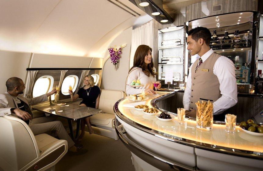 A380 Emirates bar drikke tilbud