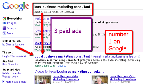 Search Engine Marketing Firm gets Local Business Marketing Consultant 1st place 20million results