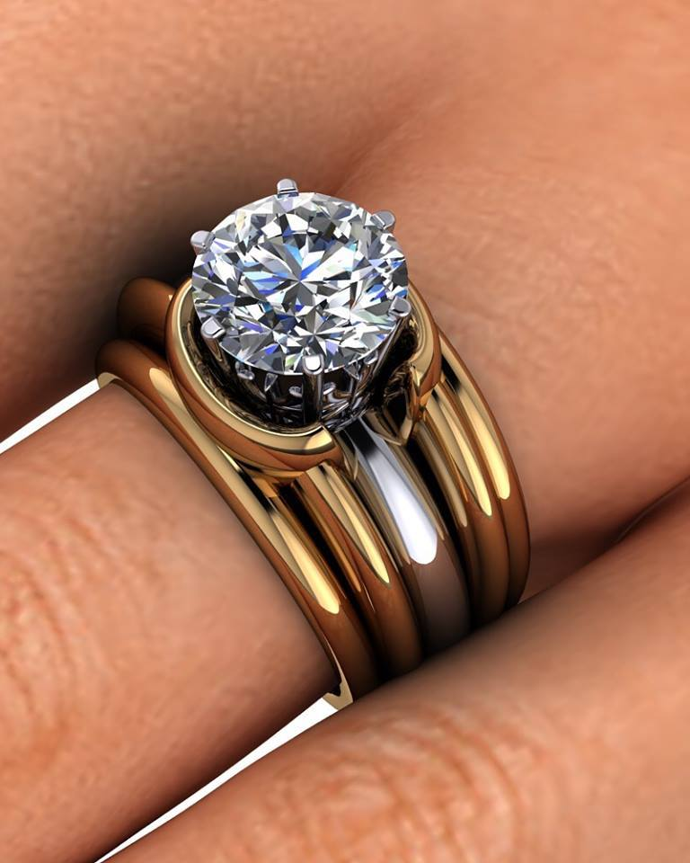 18k Gold Double Band Custom Engagement Ring