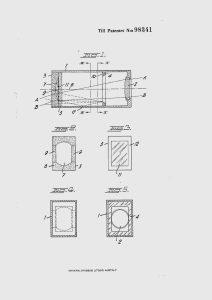 """Drawings from Swedish patent № 98341, entitled """"Sökare för fotografiska apparater""""."""