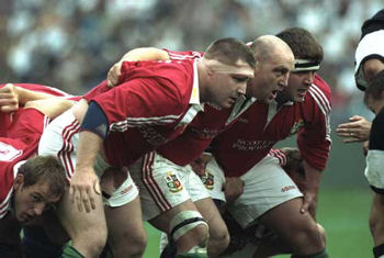 The British and Irish Lions scrum in South Africa - 1997