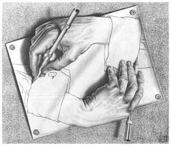 Drawing Hands, Maurits Cornelis Escher, 1948 - probably a suitable image for rather a self-referential blog article