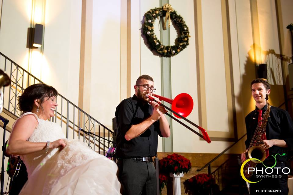 Dave playing trombone at a wedding