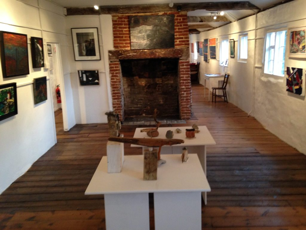 Halesworth Gallery Exhibition 'Viewing Change' looking along the length of Room 2 towards Room 1