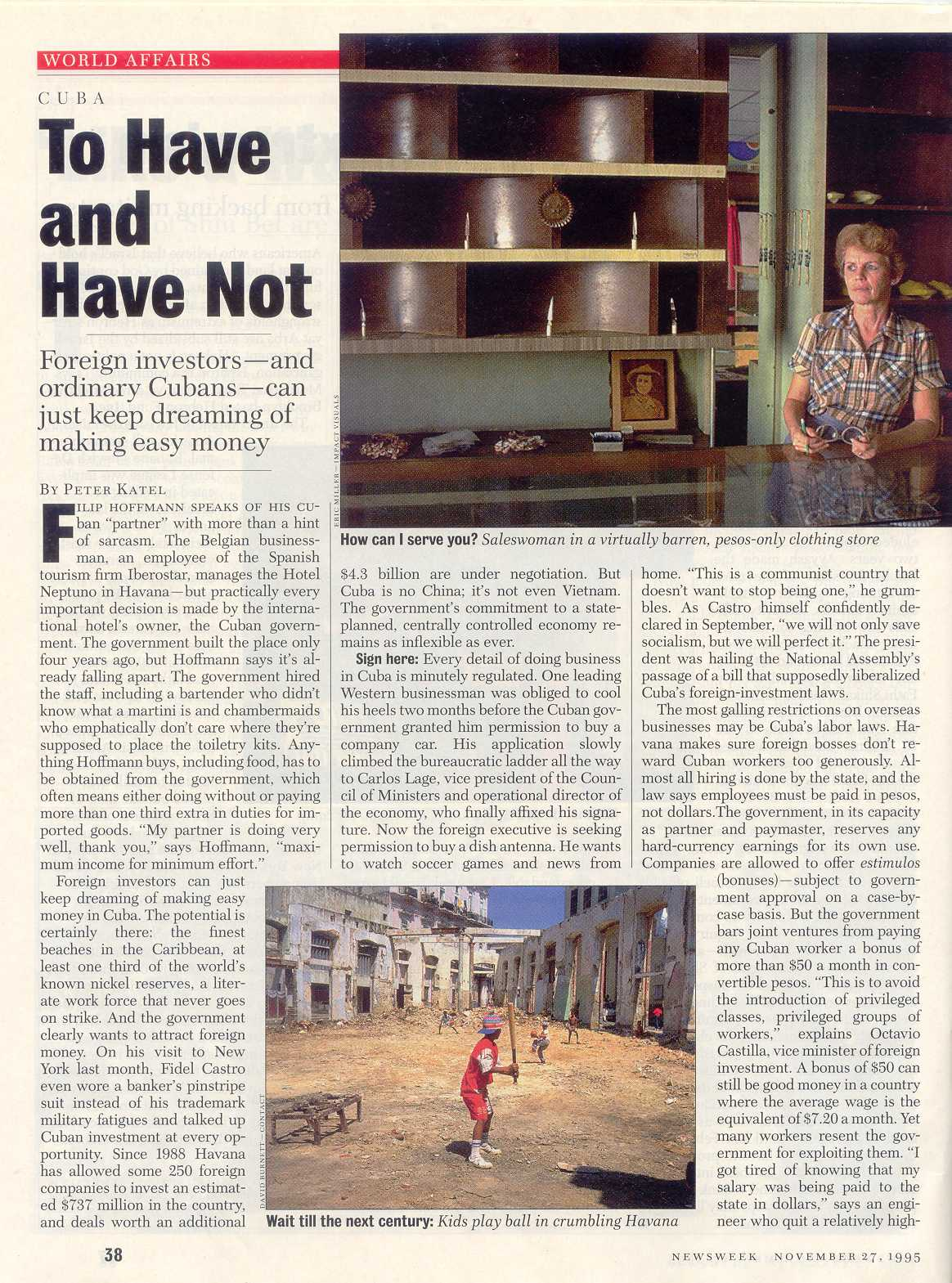 Peter Katel In Havana, Cuba – Newsweek Magazine (1995)