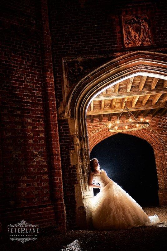 Essex wedding photographer Leez Priory rim light