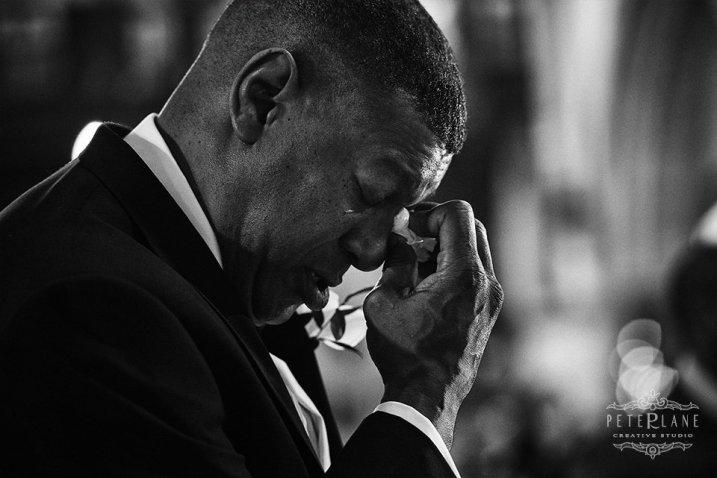 documentary wedding photography - dad crying