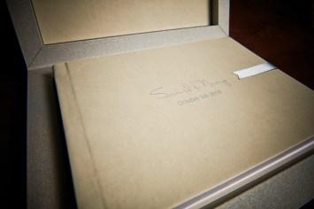 custom luxury wedding album in gray and creme theme