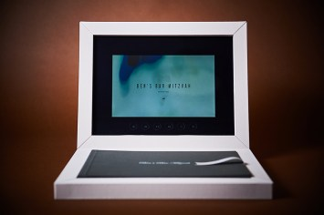 custom luxury wedding album with video display in silver and white theme