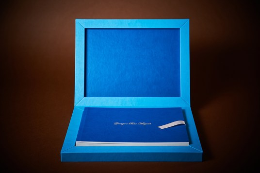 luxury wedding album in blue