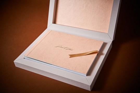 luxury wedding album in dusty pink