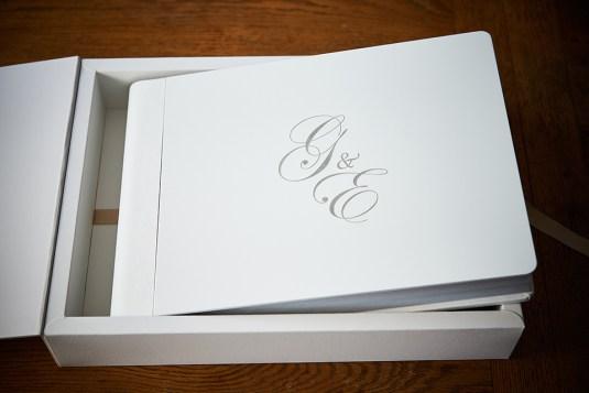 luxury greek wedding album in white