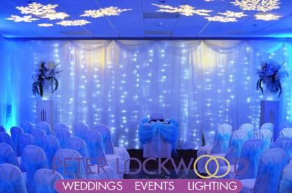 blue wedding uplighting