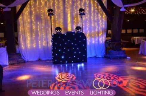 wedding dj disco setup in rivington barn